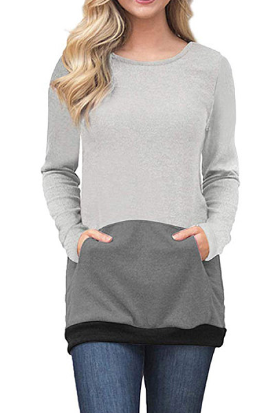 Round Neck  Patchwork  Sweatshirts