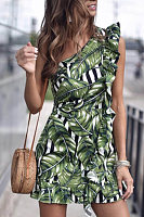 One Shoulder  Printed  Sleeveless Bodycon Dresses