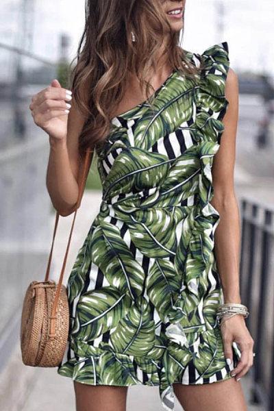 One Shoulder  Printed  Sleeveless Bodycon Dresses