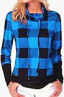 High Neck  Asymmetric Hem  Gingham T-Shirts