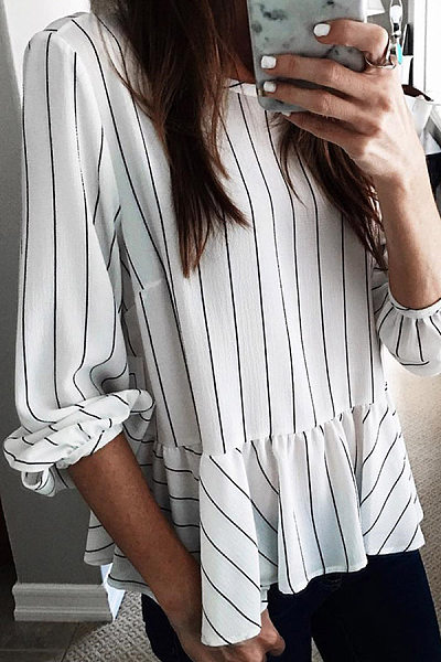 Basics Long Sleeve Striped Splicing Ruffled Blouse