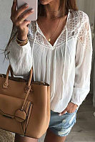 V Neck  Hollow Out Plain  Blouses