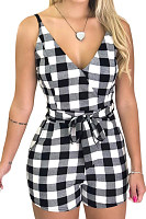 Spaghetti Strap  Backless  Gingham  Sleeveless  Playsuits