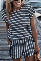 Round Neck  Stripes  Playsuits