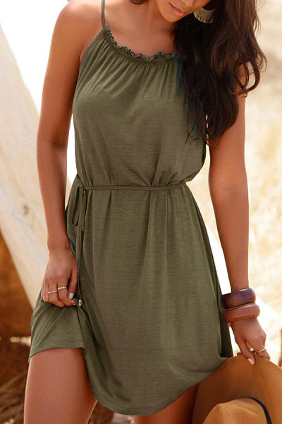 Casual Strap Solid Color Strapless Bandwidth Pine Dress