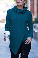 Casual Cowl Neck Pure Colour Long Sleeve Sweatshirt
