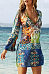 Sexy V Collar Printing Chiffon Beach Vacation Dress