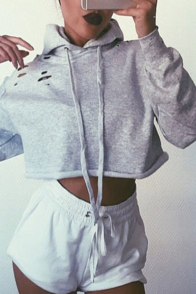 Hooded  Cutout Drawstring  Exposed Navel  Plain Hoodies