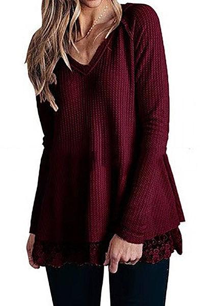 Casual V Neck Lace Hem Long Sleeve Loose T-Shirt
