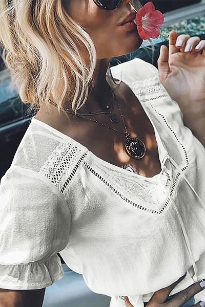 Elegant Round Neck Belted Short Sleeve Pleated Blouse