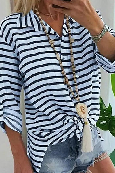 Casual Cotton And Linen Folded Collar Striped Button Long Sleeve Shirt