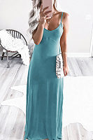Spaghetti Strap  Slit  Plain  Sleeveless Maxi Dresses