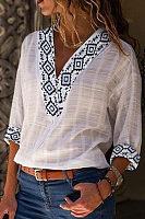 Fashion V Neck Printed Cotton And Linen T Shirt