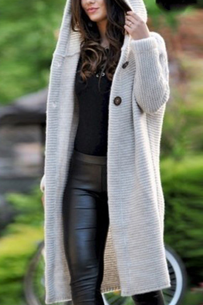 Hooded  Single Button  Plain Cardigans
