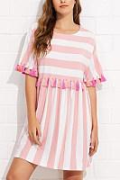 Pink Fashion Short Sleeves Stripe Mini Dress