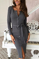 V Neck  Slit  Belt  Plain  Long Sleeve Bodycon Dresses