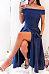 Off Shoulder  Backless  Plain  Extra Short Sleeve Maxi Dresses