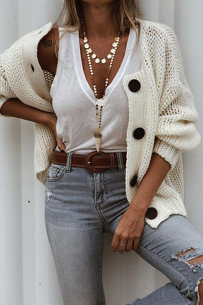 Casual Solid Color Single-Breasted Off-Shoulder Long-Sleeved Knit Jacket