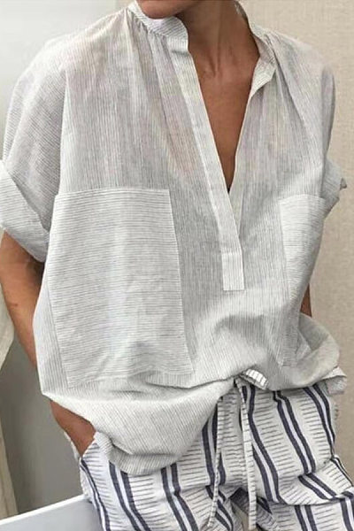 Casual V-Neck Double Pocket Cropped Sleeves Pinstripe Shirt