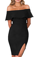 Black Off Shoulder Slit Bodycon Dress