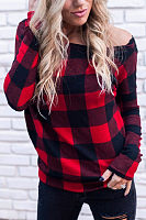 One Shoulder  Gingham T-Shirts