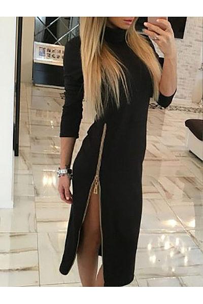 High Neck  Zipper  Plain  Long Sleeve Bodycon Dresses