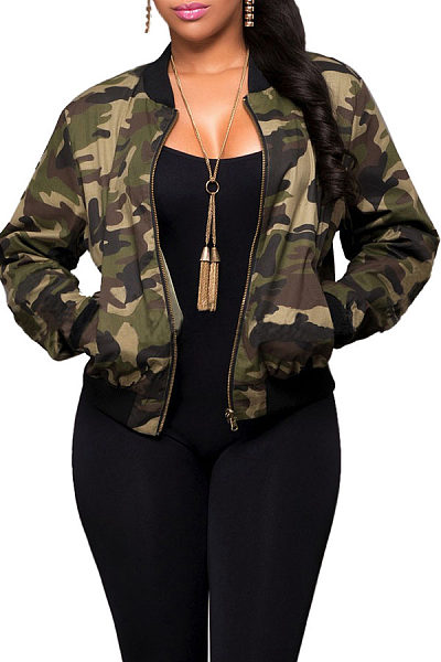 Band Collar  Contrast Trim Zipper  Camouflage Jackets