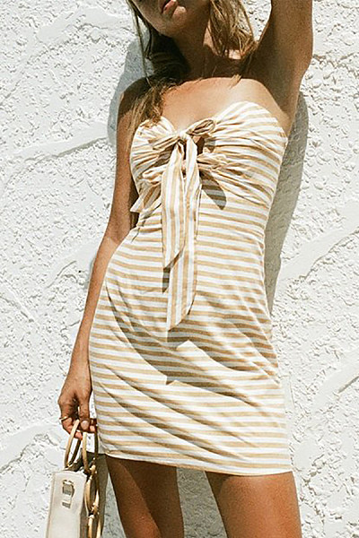 Strapless  Striped  Sexy Bodycon Dresses