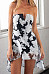 Strapless  Asymmetric Hem  Printed  Sleeveless Skater Dresses