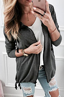 Hooded  Zipper  Plain  Casual Hoodies