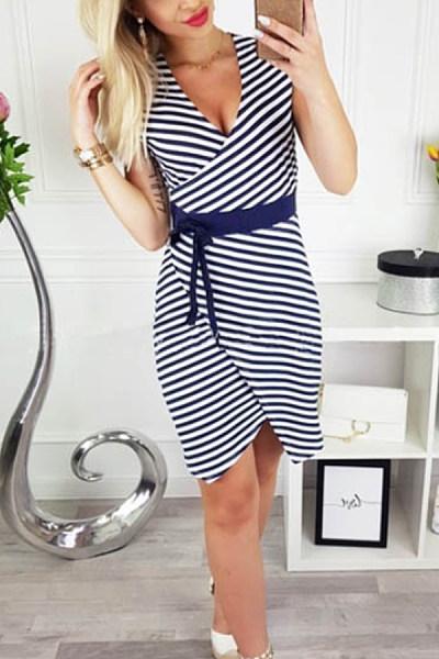 V Neck  Striped  Extra Short Sleeve Bodycon Dresses