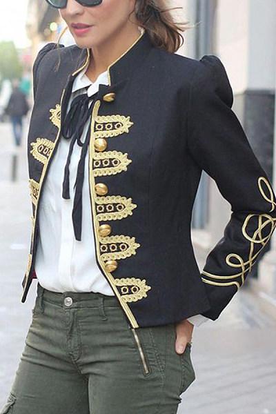 Black Printed Single-Breasted Blazer