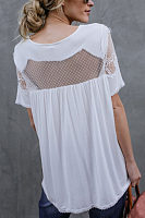 Round Neck  See Through  Patchwork Plain  Blouses