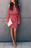 Elegant Word Collar Long Sleeve Pure Colour Lace Up Dress