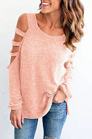 Round Neck  Cutout  Plain T-Shirts