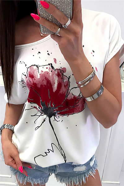 Round Neck Printed Casual T-Shirts