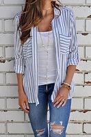 Turn Down Collar  Asymmetric Hem Single Breasted  Striped  Blouses