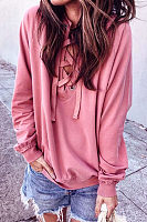 Round Neck  Lace Up  Plain  Sweatshirts