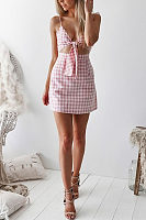 Spaghetti Strap  Bowknot  Exposed Navel  Gingham  Sleeveless Casual Dresses