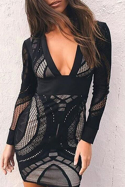 Deep V Neck  Zipper  Patchwork Bodycon Dresses