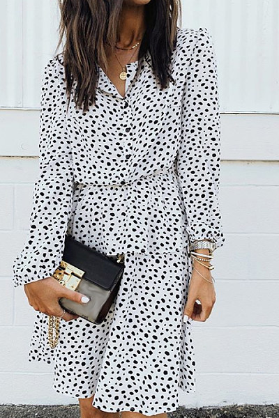 Casual V-Neck Long Sleeve Print Dress