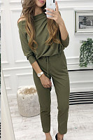 Open Shoulder  Plain  Long Sleeve Jumpsuits