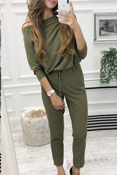 Open Shoulder  Plain  Long Sleeve Jumpsuits