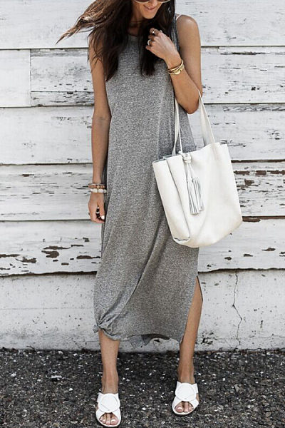 Round Neck  Slit  Plain  Sleeveless Maxi Dresses