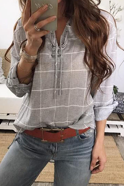 Turn Down Collar  Asymmetric Hem Single Breasted  Checkered Shirts