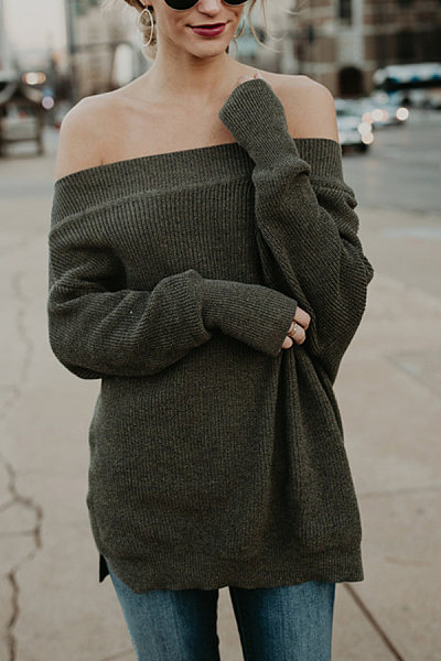 Off Shoulder  Batwing Sleeve Sweaters