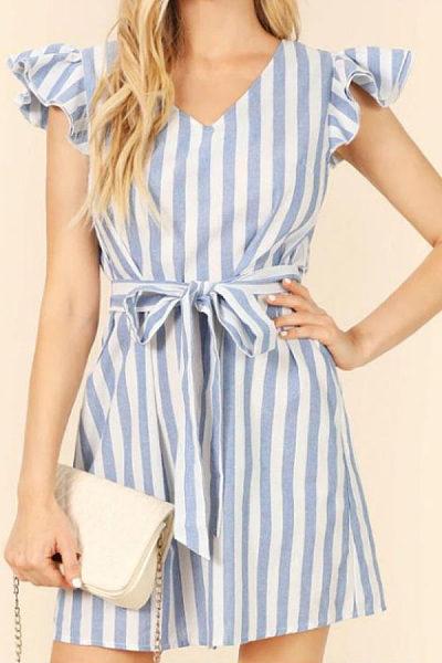 V Neck  Striped  Short Sleeve Casual Dresses