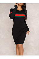 Round Neck Striped High Stretch Knit Bodycon Dress