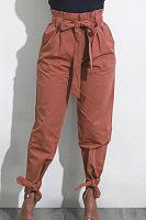 Bowknot  Plain  Casual Pants