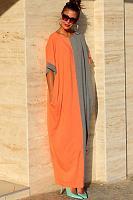 Color Block Half Sleeve Maxi Dresses